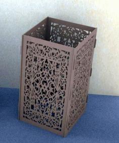 Laser Cut Tall Square Vase Flower Vase Decor Free CDR Vectors Art