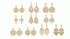 Laser Cut Wooden Earing Set Free CDR Vectors Art