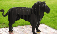 Metal Lion Barbeque Laser Cut Free CDR Vectors Art