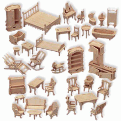 Doll House Cnc Furniture Designs Free DXF File