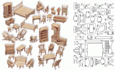 Doll House Furniture Items Design Free DXF File