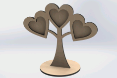Laser Cut Wooden Heart Photo Frames Tree Shaped Free DXF File