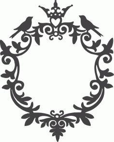 Ornamental Birds Frame Free DXF File
