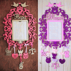 Laser Cut Customized Wallart Photoframe For Kids Free CDR Vectors Art