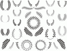 Floral Wreath Set Free CDR Vectors Art