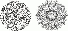Round Ornament Pair Free CDR Vectors Art