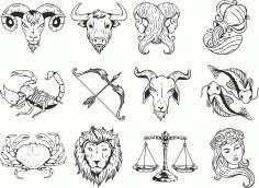 Zodiac Bw Set Free CDR Vectors Art