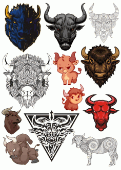 Bulls Vector Set Free CDR Vectors Art