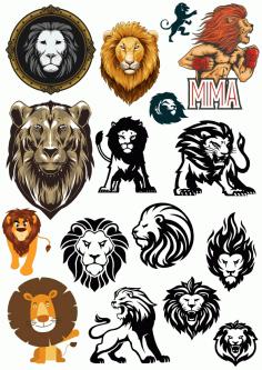 Lions Vector Set Free CDR Vectors Art