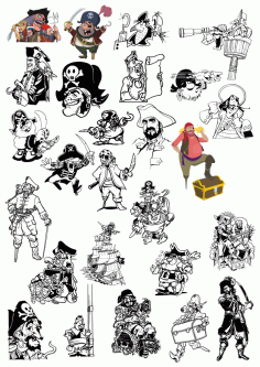 Pirates Vector Set Free CDR Vectors Art