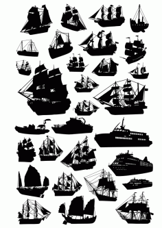 Ship Silhouette Vector Set Free CDR Vectors Art