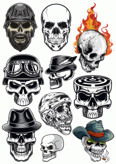 Skull Vector Horror Set Free CDR Vectors Art