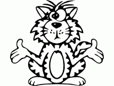 Bw Cat Cross Eyed Free DXF File