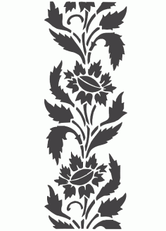 Carving Stencil Floral Silhouette Pattern Free DXF File