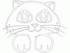 Cat Face Drawing Free DXF File