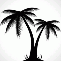 Palm Tree Silhouette Clip Art Free CDR Vectors Art