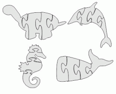 Dolphin Fish Jigsaw Puzzle Free DXF File