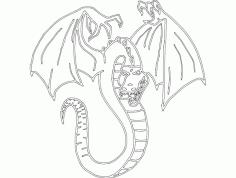 Dragon Drawing Sketch Free DXF File