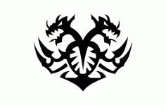Dragon Silhouette Sketch Art Free DXF File