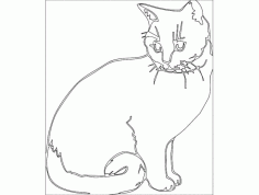 Cute Cat Katze Free DXF File