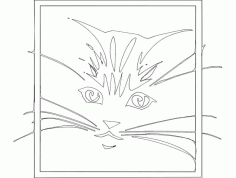 Cute Cat Sketch Free DXF File