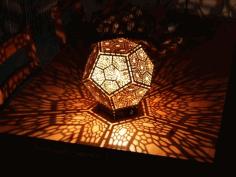 Laser cut Dodecahedron Lamp Free DXF File