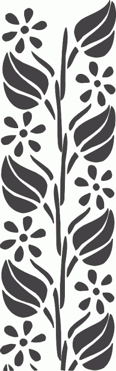 Flower Carving Stencil Silhouette Wall Art Pattern Free DXF File