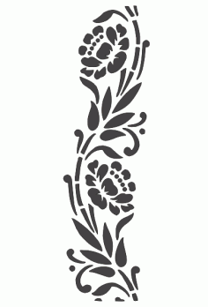 Flower Stencil Silhouette Carving Wall Art Free DXF File
