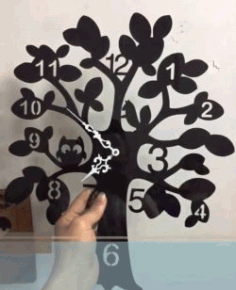 Wall Clock Tree File For Laser Cut Free DXF File