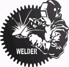 Welder Welding In Workshop Free DXF File
