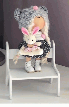 Doll Chair Miniature Dollhouse Bench Kids Gift Free CDR Vectors Art