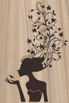 Cnc Laser Cut The Teenage Girl Has Her Hair Covered With Vines Plasma Free CDR Vectors Art