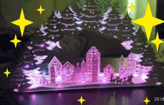 Laser Cut Christmas Night Light Decor Christmas Village Lamp Free CDR Vectors Art