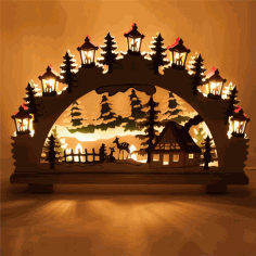 Laser Cut Christmas Ornaments Lamp Night Scene Wooden Window Light Free CDR Vectors Art