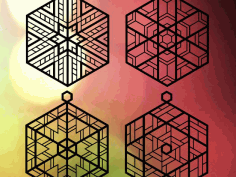 Four Stained Glass Inspired Ornaments Free CDR Vectors Art