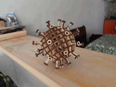 Laser Cut Coronavirus 3d Wood Model Design Free DXF File