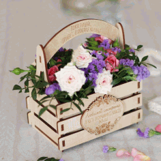 Laser Cut Flower Basket Free DXF File