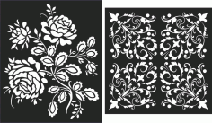 Floral Screen Patterns Design 34 Free DXF File