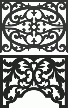 Floral Screen Patterns Design 39 Free DXF File