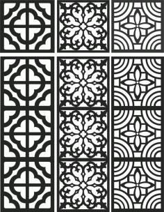 Floral Screen Patterns Design 108 Free DXF File