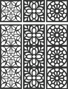 Floral Screen Patterns Design 109 Free DXF File