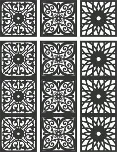 Floral Screen Patterns Design 112 Free DXF File