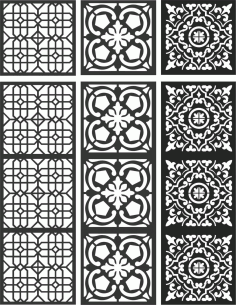Floral Screen Patterns Design 113 Free DXF File