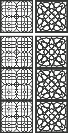 Floral Screen Patterns Design 115 Free DXF File