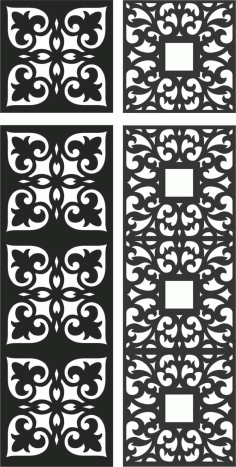 Floral Screen Patterns Design 123 Free DXF File