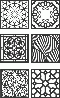 Floral Screen Patterns Design 127 Free DXF File