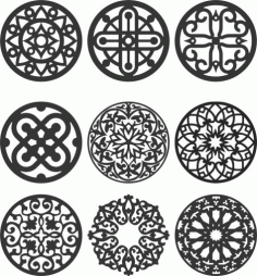 Floral Screen Patterns Design 132 Free DXF File