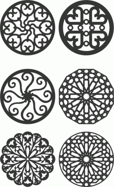 Floral Screen Patterns Design 133 Free DXF File