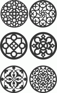 Floral Screen Patterns Design 137 Free DXF File