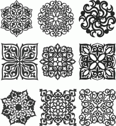 Floral Screen Patterns Design 147 Free DXF File